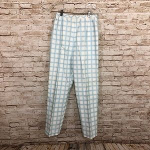 Vintage Plaid Slacks Pants Blue White High Waist
